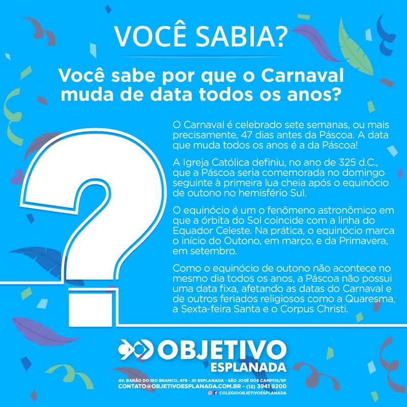 VOCÊ SABIA? Por que o Carnaval muda de data todos os anos?