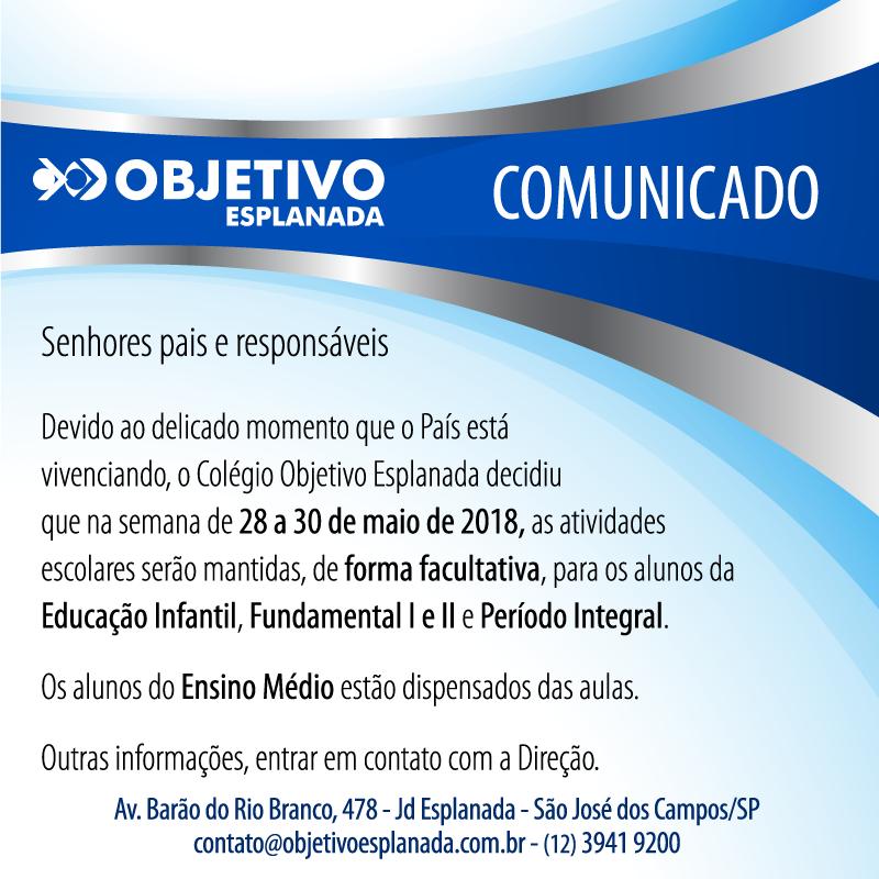 Comunicado – Alteração das Atividades da Semana 28 a 30/05/2018